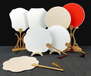 Últimas em branco Handle Thicken Duplo Rice Paper Fan tradicional Artesanato de bambu Pintura Fan Branco Red Fan chinês