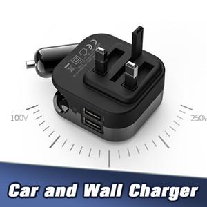 5V 2.1A Folding Multi funcional carregador de viagem US AUS UE UK plug portátil Car Universal carregamento Carregador para Samsung S8 Nota 10 IPX