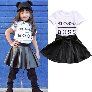 2019 New Fashion Kids Baby Girls Clothes Casual Letter Print T-Shirt Tops+PU Short Skirts Outfits 2PCS Summer Clothes Sets 1-6T