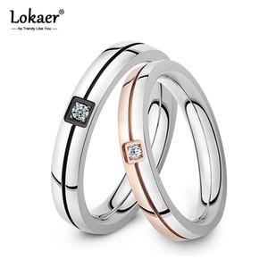 Lokaer Mosaico zirconi anello in acciaio inox cristallo Shinning coppia Ring Forever Love Per Matrimonio romantico anelli R19102