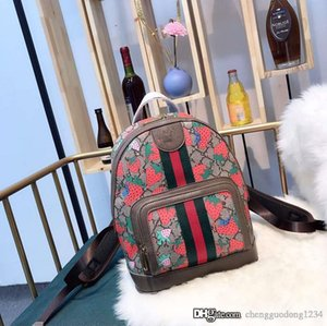 New School Leather College Backpack Female Fashion Joker Strawberry BaoChao Fire Students Small Leisure Travel Bags For Girls Designer