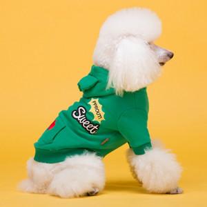 Roupa bonitos do cão com gato Cotton Hat Pocket Pet Hoodies Designer Camisola do cão inverno Teddy Bulldog Schnauzer com capuz