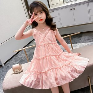 Girls Party Dress 2020 New Summer Sweet Kids Dresses for Girls Sleeveless Plaid Toddler Children Clothing Teens Princess Costume