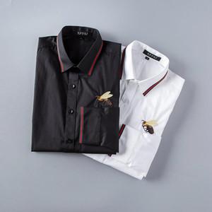Erkek Lüks Gömlek Moda Arılar İşlemeli Uzun Kollu Elbise Gömlek Marka Klasik Aşağı Boyun İş Tops135 çevirin