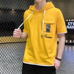 2020 designer new summer t-shirt men's short-sleeved cotton hooded sweater hooded thin clothing trend ins