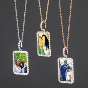 Plated Photo Necklaces Customized Luxury Men Gold Women Memory Copper Square Grade Hip High Pendant Bling 18K Fashion Hop Zir Uwbfa