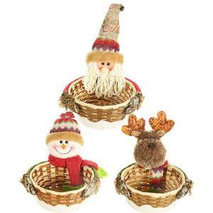 New Bamboo Weihnachtszucker Storage Basket Dekoration Weihnachtsmann-Speicher-Korb-Geschenk-Weihnachtsdekoration Weihnachtszucker Speicher-Korb