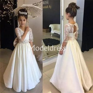 Lovey Lace Flower Girl Kleider Jewel Neck Halbarm bodenlangen 2019 Mädchen Frist Kommunion Kleider Holy Elegant Child Brithday Party Gown