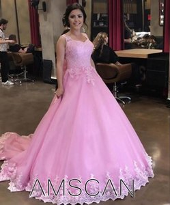 2020 Quinceanera Dresses Ball Gown Sweetheart Sweep Train Prom Dresses With Lace Applique Bow Sweet 16 Gowns