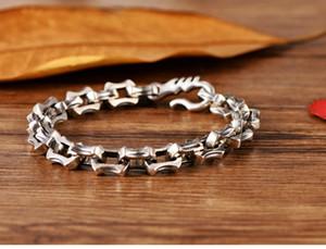 s925 quilla plata cadena de plata esterlina de la moda hombre dominante gancho gancho pulsera tailandesa