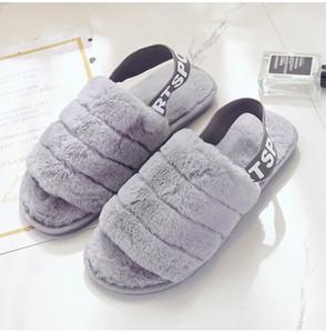 Pantofole all'ingrosso delle signore delle donne sandali pelosi indoor Outdoor moda inverno pelliccia pantofole morbide scarpe taglia 36-41