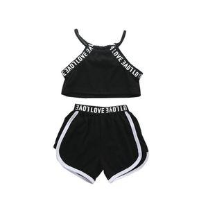 Bebé Menina Sports Clothes Set Strap Cotton Criança Top Curto Halter + listrado Shorts Pants 2pcs Treino Sweatsuit