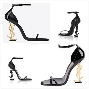 Con la caja de zapatos de marca nueva Sexy Mujer del verano de la hebilla de correa del remache sandalias zapatos de tacón alto-dedo del pie acentuado de moda de lujo individual alto talón 34-43