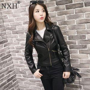 NXH 2018 Real photo New Winter autumn Good Quality Womens PU Leather jacket Ladies Slim Short Faux Soft Slim streetwear coat