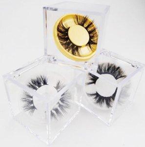 Klare Cube Wimpern Box für 3D-5D Mink Wimpern falsche Wimpern Fälle Acryl Verpackung Box mit bunten Kreis Lashes Tray GGA3413-2