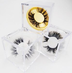 Limpar Cube Cílios Box para 3D 5D Mink cílios postiços Cílios Casos Acrílico Embalagem Caixa com Círculo colorido Lashes Bandeja GGA3413-2