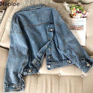 Neploe Turn Down Collar Long Sleeve Denim Jacket Women Back Split Design Button Casaco Feminino Pocket Korean Coat Spring 49165