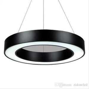 Minimalismo modernas anillo Led luces pendientes colgantes colgante colgante de luz Iluminación de oficina metal mate Ronda gota Iluminación