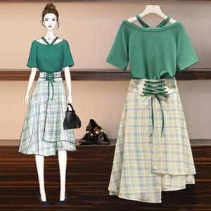 ICHOIX Plaid 2 peças conjunto de saia de verão 2,019 rendas coreano-se t-shirt altos e saia 2 mulheres set peça 3xl 4xl além set tamanho