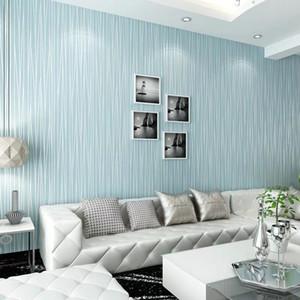 Europeu moderno liso minimalista não tecido Wallpapers Quarto Wall Paper Textures Sala de jantar Hotel Listrado Parede azul do rolo