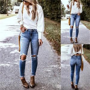 تغسل ثقب رصاص جينز صيف المضاء مصمم أزياء سروال جينز Fenalse ستريت ستايل عارضة الملابس النسائية