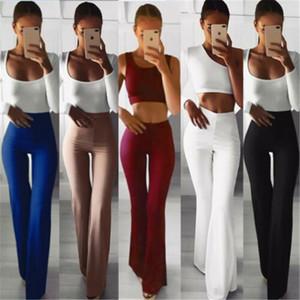 Mulheres Sólidas Calças Perna Larga Cintura Alta Comprimento Total Calças Flare Capris Workwear Elastic Bell Calças Pantalon Femme
