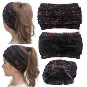 CC de punto venda ancha Mujeres Deportes de invierno Hairband Turbante Turbante del oído del ganchillo de la gorrita tejida de las vendas temperatura muy caliente felpa