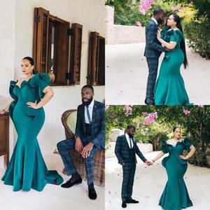 Abiti da sposa da sera convenzionale 2020 Elegante Hunter verde africano abiti da sera più Mermaid Dimensioni breve manicotto increspature Prom Dresses economici