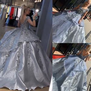 Sequins Prom Dresses Modest Lace Appliqued Evening Dress Party Pageant Gowns Special Occasion Dress Dubai robes de soire
