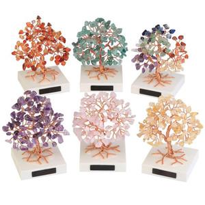 1pc Mini Şifa Kristal Para Ağacı El yapımı Bakır Tel Taş Ağacı Feng Shui Süsler Ev Dekorasyonu Eskitme sarılmış