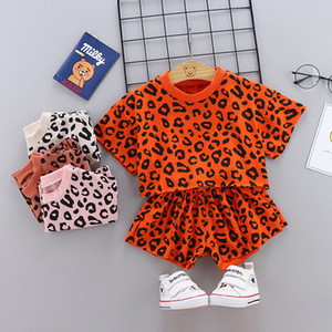 Summer new fashion girl suit leopard print round neck short sleeve T-shirt five-point pants two-piece girl suit