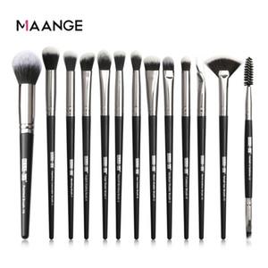 Maange Fırçalar Araçları Makyaj Kirpik Kaş Göz Farı Pudra Fondöten Fırçası Kozmetik Set Profesyonel Makyaj fırçaları 13pcs
