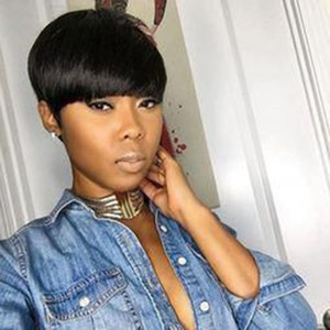 Human Capless cabelo perucas para mulheres negras Pixie Cut Non Remy Bob Curto Cabelo Humano Perucas com bebê de cabelo bang