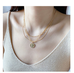 light luxury designer jewelry women necklaces S925 pure silver queen's head round tag multi-layer Necklace female clavicle chain fashion