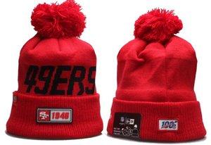 Uomini di alta qualità a San Francisco 49er risvolto Pom Beanie cappelli lavorati a maglia Beanie SF calda lana di baseball del cappello della protezione delle donne Bonnet Berretti Knit Hat