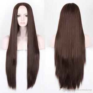 Горячие длинные прямые волосы парики 70 см темно-коричневый парик из синтетических волос дешево высокое качество бесплатная доставка