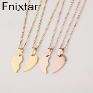 Fnixtar Broken Heart Строчка ожерелье Зеркальная нержавеющая сталь сердца DIY Custoimz BFF ожерелье 10piece / много
