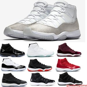 2019 11 White Metallic Silver Vast Grey Basketball Shoes 11s Concord 45 Bred Space Jam 72-10 Men Women Gym Red Sneakers With