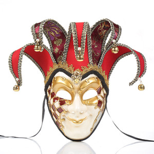 Vintage Style Clown Hommes Masque Personnalité Creative Personnalité Venetian Masquerade Masques Mode Full Face Masques avec cloches