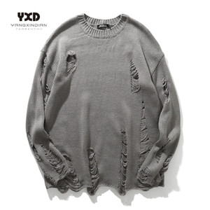 Men Streetwear Hole Ripped Knit Sweater Hip Hop Pullovers Jumper Fashion All-match Mens Winter koreanClothes Couples wear tops