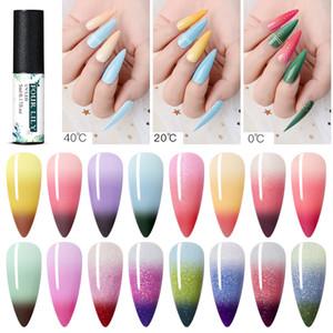 Quatre Lily 1 bouteille 5ml Changement de couleur UV Gel Polish Paillettes Couleur thermique Changement Nail Gel Soak Off Nail Art Vernis polonais