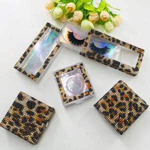 Personalizzare Packaging Box con stampa leopardata glitter strass Lash Box recenti 3D 5D 25mm Mink Ciglia finte