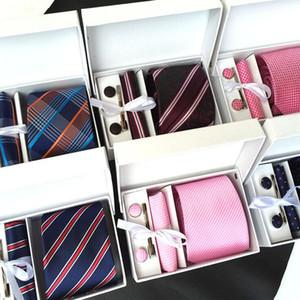 8 CM Herren Weit Formal Krawatten Krawatte Sets Cufflink Hanky Clips Individuelle Gravata Colar Pasta Krawatten for Business Silver Grey prüfen