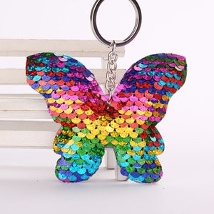 20pcs Mix Style Sequins Butterfly Unicorn Bear Keychain Bag Parts Christams Decorations Mermaid Fish Tail Keychain Gift Xmas Pendant Heart