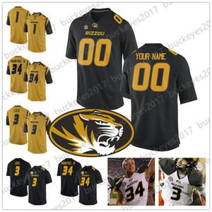 Пользовательские Mizzou Missouri Tigers Любое имя Сшитое число Черное белое золото NCAA College Football Jersey # 8 Джастин Смит 34 Ларри Рантри III