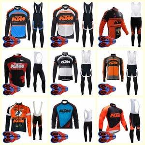 KTM team Ciclismo manga larga jersey pantalones con babero conjuntos Deportes al aire libre múltiples opciones Estilo para hombre Ropa de ciclismo U82809