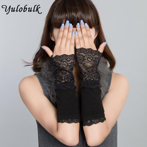 Winter Arm Warmers for Women Hand Warmer Black Cotton Fingerless Long Gloves Lace Arm Sleeve Arm