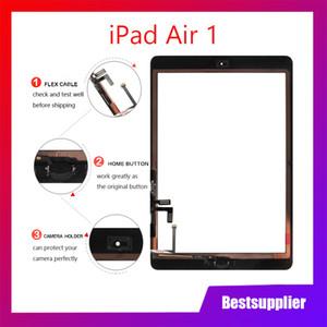 Buena calidad para iPad Air 1 Panel digitalizador de panel táctil de iPad 5 con botón de inicio y reemplazo de adhesivo de 3M