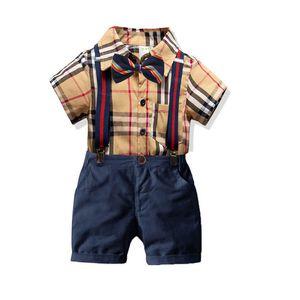Summer gentleman boys suits fashion boys clothing sets kids designer clothes boys clothes short sleeve shirt+suspender shorts 2pcs set B1035