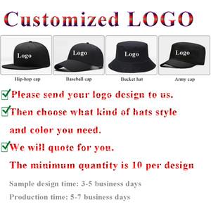 En Özel 3D İşlemeli Logo Baskılı Beyzbol Hip-Hop Caps Trucker Kepçe Şapkalar DIY Firma Takım Adı Kamuflaj Tok Renk Denim